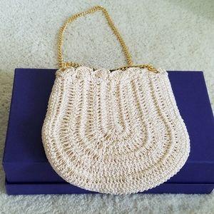 Cream Crochet Scalloped Edge Small Bag